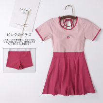 one piece  Miss sweet swimsuit XL,L,M,S Powder + Rose powder Skirt one piece With chest pad without steel support Spandex, nylon female Short sleeve Casual swimsuit Solid color