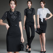 Dress Summer 2017 S,M,L,XL,2XL,3XL Middle-skirt Three piece set Short sleeve commute Lotus leaf collar middle-waisted character Single breasted other shirt sleeve Others 25-29 years old Type A Korean version Q6056 91% (inclusive) - 95% (inclusive) knitting polyester fiber