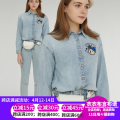 shirt wathet 160/S,165/M,170/L Spring 2021 cotton 96% and above Long sleeves commute Polo collar Single row multi button routine other 18-24 years old Straight cylinder teenie Britain TTYP211101B Button