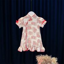 Dress Pink female Other / other 80cm,90cm,100cm,110cm,120cm,130cm,140cm Cotton 95% other 5% summer princess Short sleeve other Cotton blended fabric Princess Dress 12 months, 6 months, 9 months, 18 months, 2 years, 3 years, 4 years Chinese Mainland