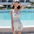 one piece  NAILANG M,L,XL,XXL White, black, red Skirt one piece With chest pad without steel support Polyester, spandex, nylon female Sleeveless Solid color Lotus leaf edge