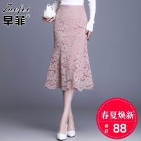 skirt Spring 2021 M L XL 2XL 3XL 4XL Black Pink longuette commute High waist skirt Solid color jyx6605 Lace Zaofei Lace Korean version