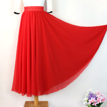 skirt Autumn of 2019 longuette commute High waist A-line skirt Solid color Type A 25-29 years old More than 95% Chiffon Other / other other Ruffles, stitching