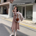 Dress Winter of 2019 S,M,L Mid length dress singleton  Long sleeves commute Crew neck High waist Solid color Socket A-line skirt routine Others 18-24 years old Type A JHXC Korean version More than 95% knitting acrylic fibres