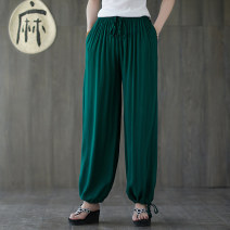 Casual pants M, L Summer 2020 trousers Wide leg pants Natural waist commute routine 30-34 years old 51% (inclusive) - 70% (inclusive) hemp ethnic style fold hemp