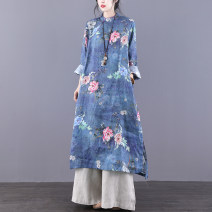 Dress Spring 2021 Blue grey M L longuette singleton  Long sleeves commute stand collar Loose waist Decor Socket A-line skirt routine Others 30-34 years old Type A Jian Tian ethnic style Pocket stitching button print inner hem JT21A80898 More than 95% hemp Flax 100%