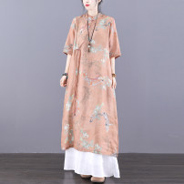 Dress Summer 2021 Yellow coffee (5 days in advance) skin pink M L longuette singleton  elbow sleeve commute stand collar Loose waist Decor Socket A-line skirt routine Others 30-34 years old Type A Jian Tian ethnic style Pocket stitching button print inner hem JT21A81113 More than 95% hemp Ramie 100%
