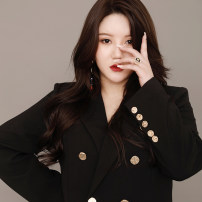 Women's large black suit singleton  commute Straight cylinder thick Cardigan Long sleeves Solid color Korean version V-neck Medium length other Three dimensional cutting routine 25-29 years old Button Middle-skirt Three buttons
