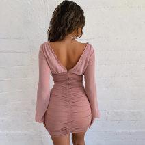 Dress Summer of 2019 Black, pink S,M,L Short skirt Long sleeves V-neck