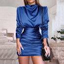 Dress Spring of 2019 Black, red, pink, blue S,M,L Long sleeves Solid color zipper