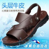 Sandals Ch 7711 black, CH 7711 brown, CH 8811 black, CH 8811 brown, ch 1808 black, ch 1808 Brown 38,39,40,41,42,43,44 Other / other Sleeve Cattle hide (except cattle suede) Beach shoes rubber wear-resisting Thick bottom Solid color Sewing Summer 2021