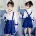 Dress blue female Troy 120cm (120cm (120cm (120cm recommended height 105-115))) 130cm (130cm (130cm (130cm recommended height 115-125))) 140cm (140cm (140cm (140cm recommended height 125-135))) 150cm (150cm (150cm recommended height 135-145))) Other 100% spring and autumn Korean version Long sleeves