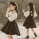 Dress Apricot female Troy 110cm 120cm 130cm 140cm 150cm 160cm Other 100% spring and autumn Korean version Strapless skirt Solid color Cotton blended fabric A-line skirt Tnlq BOW STRAP skirt Class B