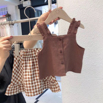 suit Other / other Coffee, rust red The recommended height is 90cm-100cm for size 7, 100cm-110cm for size 9, 110cm-120cm for size 11, 120cm-130cm for size 13 and 130cm-140cm for size 15 female summer Sleeveless + skirt 2 pieces routine Socket nothing Expression of love af68517