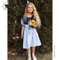 Dress Water blue female Seven solo 110cm 120cm 130cm 140cm 150cm 160cm Cotton 100% Retro Short sleeve other cotton A-line skirt Class B Summer 2021 3 years old, 4 years old, 5 years old, 6 years old, 7 years old, 8 years old, 9 years old, 10 years old, 11 years old, 13 years old, 14 years old