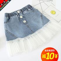 skirt 110size 120size 130size 140size 150size 160size Denim blue STONE BABY female Other 100% summer skirt Korean version A-line skirt