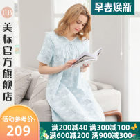 Nightdress American Standard M L XL XXL Sweet Short sleeve Leisure home Middle-skirt summer other youth V-neck cotton printing More than 95% Woven cotton fabric Spring 2020 Cotton 100% Same model in shopping mall (sold online and offline)