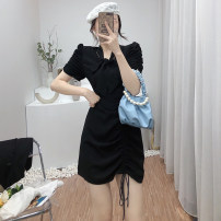 Dress Spring 2021 Black, green S,M,L Short skirt singleton  Long sleeves commute V-neck High waist Solid color zipper A-line skirt routine Others 25-29 years old Type A Korean version Pleats, stitches, lace 7504B-PLYQ053 31% (inclusive) - 50% (inclusive) other other