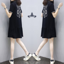 Dress Summer 2021 black S,M,L,XL,2XL,3XL Mid length dress singleton  Short sleeve commute Polo collar Loose waist Solid color Socket A-line skirt routine Type A Other / other Korean version 30% and below