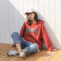 Women's large Summer of 2019 Apricot, white, black, pink, orange, coffee, apricot (cashmere), pink (cashmere), orange (cashmere), coffee (cashmere), white (cashmere), black (cashmere) Large XL, large L, M Sweater / sweater singleton  commute easy thin Socket Long sleeves letter Korean version Hood