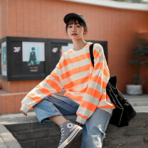 Women's large Spring 2021 Black, orange Large XL, 2XL, 3XL Sweater / sweater singleton  commute easy moderate Socket Long sleeves stripe Korean version Crew neck routine Polyester, cotton routine Other / other 18-24 years old 51% (inclusive) - 70% (inclusive)