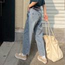 Women's large Spring 2021 blue Large L, 3XL (recommended weight 140-160 kg), 4XL (recommended weight 160-190 kg), XL (recommended weight 100-120 kg), 2XL (recommended weight 120-140 kg) Jeans singleton  commute Self cultivation moderate Solid color Korean version Denim Other / other 18-24 years old
