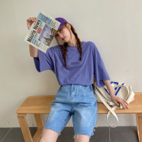 Women's large Spring 2021, summer 2021 Yellow, purple, white Large XL, 2XL, 3XL T-shirt singleton  commute easy moderate Socket Short sleeve Solid color, letter Crew neck routine Polyester, cotton routine Other / other 18-24 years old 51% (inclusive) - 70% (inclusive)