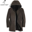 leather clothing Fashion City L XL 2XL 3XL 4XL Medium length Leather clothes Hood Slim fit winter leisure time youth Sheepskin and wool Business Casual Straight hem Zipper bag Winter of 2018 Pure e-commerce (online only)