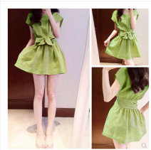 Dress Summer 2020 Green, pink S,M,L,XL,2XL Short skirt singleton  Short sleeve Sweet Crew neck middle-waisted Solid color Socket Princess Dress Others 18-24 years old Type A Pingxu Bowknot, lace up, stitching hemp princess