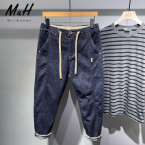 Jeans Youth fashion BISHANGMCC HOMME 28 29 30 31 32 33 34 blue routine Micro bomb Regular denim trousers Cotton 91.5% polyester 7% polyurethane elastic fiber (spandex) 1.5% spring youth Slim feet Japanese Retro 2021 Little straight foot zipper Three dimensional tailoring Spring 2021 cotton