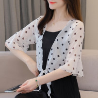 Lace / Chiffon Summer 2021 White, black S,M,L,XL,2XL Short sleeve commute Cardigan singleton  easy have cash less than that is registered in the accounts V-neck Dot pagoda sleeve Lunkeyidu FT-020 Korean version