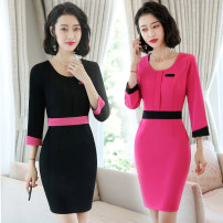 Dress Winter of 2018 Black short sleeve dress, rose red short sleeve dress, black Quarter Sleeve Dress, rose red quarter sleeve dress S,M,L,XL,2XL,3XL,4XL Mid length dress singleton  three quarter sleeve commute Crew neck middle-waisted Solid color zipper routine 25-29 years old Type A Fashion beauty