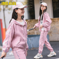 suit Imgkids / micketty children's wear Pink female spring and autumn motion Long sleeve + pants 2 pieces routine There are models in the real shooting Zipper shirt No detachable cap Solid color children Expression of love Viscose fiber (viscose fiber) 85% polyethylene terephthalate (polyester) 15%