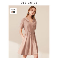 Dress Summer of 2019 Blush Pink olive green S M L XL XXL Mid length dress singleton  Short sleeve Polo collar Socket other routine 25-29 years old Type X Designice / desennis D8218X6969-1 71% (inclusive) - 80% (inclusive) other other Lyocell 73% cotton 27%