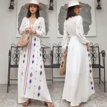 Dress Autumn of 2019 white S,M,L,XL,2XL,3XL longuette singleton  Long sleeves Sweet V-neck Loose waist Abstract pattern Socket routine Other / other cotton Bohemia