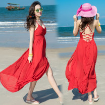 Dress Summer of 2018 gules S,M,L,XL longuette singleton  Sweet V-neck High waist Solid color Big swing camisole Type A Other / other Open back, lace up 31% (inclusive) - 50% (inclusive) Chiffon polyester fiber Bohemia