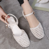 Sandals 34 35 36 37 38 39 40 41 42 43 Black Beige Rattan grass Miaoyue Baotou Thick heel Middle heel (3-5cm) Summer 2020 Flat buckle Korean version Solid color Adhesive shoes Youth (18-40 years old) daily Front and rear trip strap Low Gang Hollow PU MY20AF181 Roman shoes Shaving
