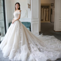 Wedding dress Spring of 2018 ivory Customized XL m s Korean version Long tail Bandage church One shoulder Lace Three dimensional cutting eighteen thousand and twenty-five High waist 18-25 years old flower Sleeveless shawl Iam Bride / Emo Large size 165 length