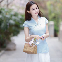 shirt Light blue (15 days delivery), light blue (in stock) Xs, s, m, l, XL, for personal customization, please provide the clothing size to customer service Spring 2021 hemp 51% (inclusive) - 70% (inclusive) Short sleeve commute Regular V-neck Socket routine Solid color 30-34 years old Smart lemon