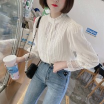 shirt White, white stock Average size Spring 2021 cotton 96% and above three quarter sleeve Sweet Regular stand collar Single row multi button bishop sleeve Solid color Straight cylinder Gouhua, hollow out, stitching, lace, fungus, button Ruili cotton