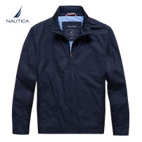 Jacket Nautica / nodica Fashion City routine easy go to work autumn Long sleeves Wear out stand collar Business Casual Large size routine Zipper placket Cloth hem No iron treatment Closing sleeve Solid color Side seam pocket cotton More than 95%