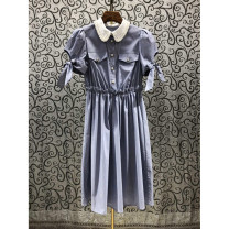 Dress college Summer 2021 longuette Short sleeve singleton  Sweet Doll Collar middle-waisted Single breasted 25-29 years old A-line skirt puff sleeve 51% (inclusive) - 70% (inclusive) cotton Type A Other Petty bourgeoisie S,M,L As shown in the figure