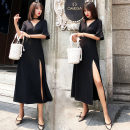 Dress Summer 2020 S,M,L,XL,2XL longuette singleton  Short sleeve commute V-neck High waist Solid color Socket other pagoda sleeve Others Type X Korean version