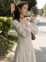 Dress Spring 2021 white S,M,L longuette singleton  Long sleeves commute One word collar High waist Solid color Single breasted A-line skirt bishop sleeve 18-24 years old Type A Retro Button polyester fiber