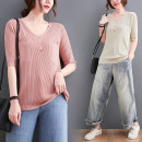 T-shirt Apricot, white, black, pink Average size Summer 2021 Short sleeve V-neck easy Medium length routine commute Viscose 71% (inclusive) - 85% (inclusive) 25-29 years old Korean version other Solid color