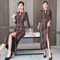Dress Autumn 2020 Picture color M,L,XL,2XL,3XL longuette singleton  three quarter sleeve commute stand collar High waist stripe zipper One pace skirt routine Others 35-39 years old Type X Retro Stitching, printing knitting polyester fiber