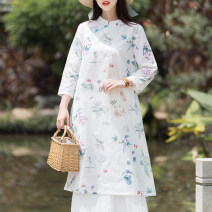 Dress Spring 2021 Picture color L,XL,2XL longuette singleton  Nine point sleeve commute stand collar Decor A-line skirt routine 25-29 years old ethnic style hemp