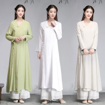 Dress Summer 2020 White, apricot M,L,XL longuette singleton  Long sleeves commute Crew neck Solid color other A-line skirt routine Others Type A ethnic style 31% (inclusive) - 50% (inclusive) hemp