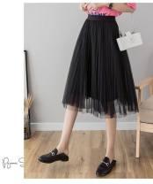skirt Spring 2020 68 cm, 78 cm, 88 cm, 98 cm Black-k55, white-6u6, gray-3o4, apricot-h87, pink-78m longuette Versatile Natural waist