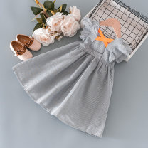 Dress Grey Stripe female Other / other 90cm,100cm,110cm,120cm,130cm Other 100% summer lady Skirt / vest stripe other Pleats other 18 months, 2 years old, 3 years old, 4 years old, 5 years old, 6 years old, 7 years old